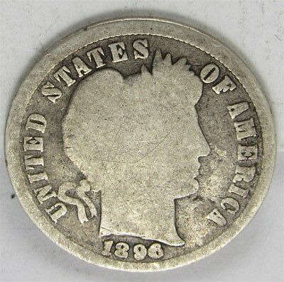 1896 Barber Dime 10C Silver FS-301 RPD (Repunched Date) Variety - G - Good