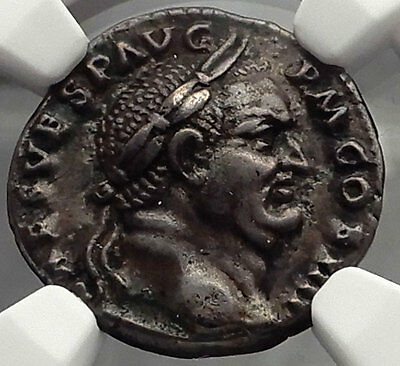 VESPASIAN 70AD Authentic Ancient Silver Roman Coin Implements NGC Ch XF i58230