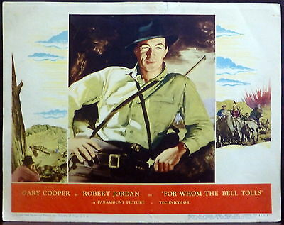 Gary Cooper For Whom the Bell Tolls ORIGINAL 1940s Lobby Card Hemingway