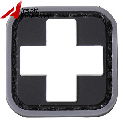 Small Tactical PVC Medic Patch Paramedic EMT Rubber Patch White Cross w/ Hook
