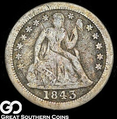 1843-O Seated Liberty Dime, Key Date New Orleans Issue, ** Free Shipping!
