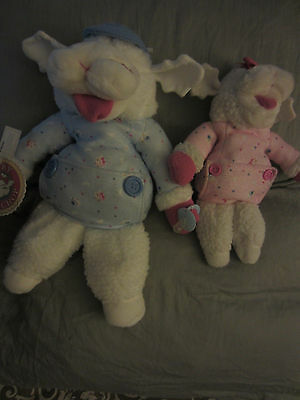 """1990 Shari Lewis Blue Baby Lamb Chop Hand Puppet W/pacifier 20"""" Used Pink Lot 2"""
