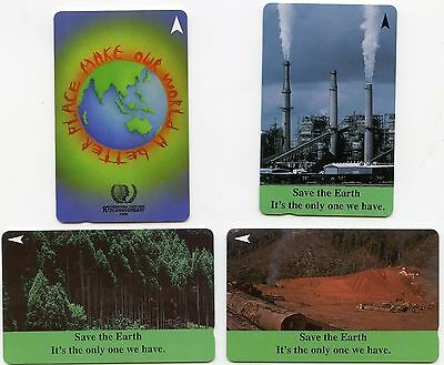 Collection of 4  phonecards - Singapore Telecom Save The Earth & Make Our World