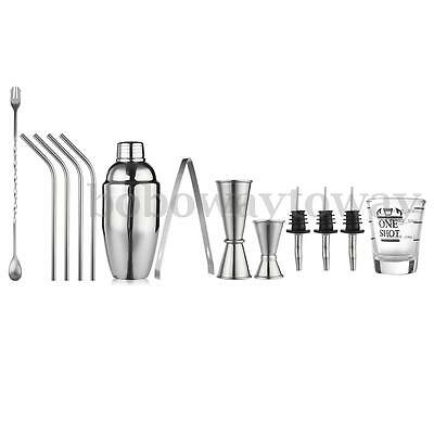 13 Pcs Barware Cocktail Stainless Steel Bartender Bar Mixing Tools Shaker Kit