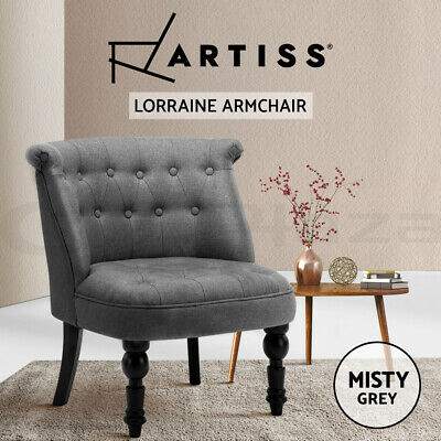 Lorraine Chair Sofa Lounge Tub Accent Occasional French Provincial Fabric Grey