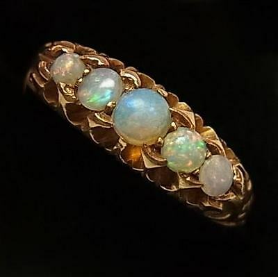 Antique Edwarian 18Ct Gold & Opal Ring