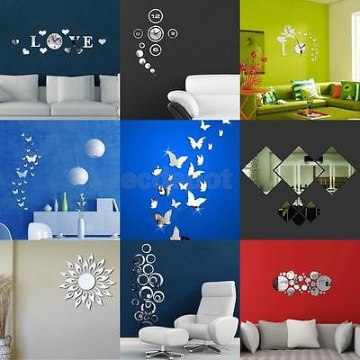 Amovible 3D DIY Acrylique Miroir Art Stickers Mural Decal Autocollant Décoration