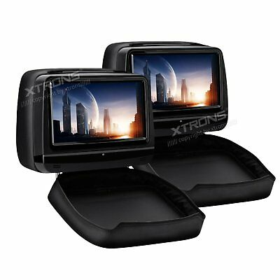 """2PCS 9"""" HD Black Leather Cover Car Headrest DVD Players USB/SD/Game/Touch Screen"""