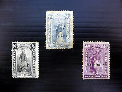 """USA Newspaper Stamps 8c, $6 & $60 with Faults """"AS IS"""" XZ94"""