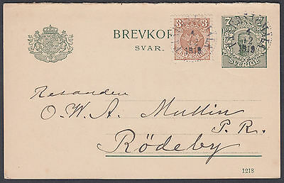 1919 Sweden uprated Stationery Postcard/Brevcort, 7 ore +3 ore adhesive