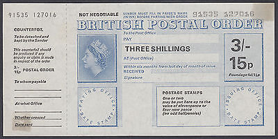 3/- ~ 15p Dual Currency British Postal Order + Counterfoil