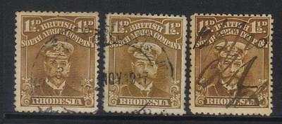 Rhodesia 1913-1919 Definitives Sg197-199 Used Cat £6+