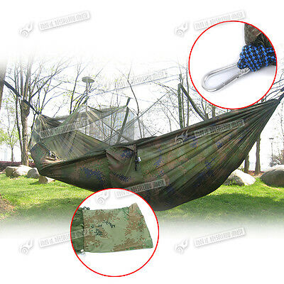 Camouflage Green Military Bushcraft Camping Hanging Bed Hammock + Mosquito Net