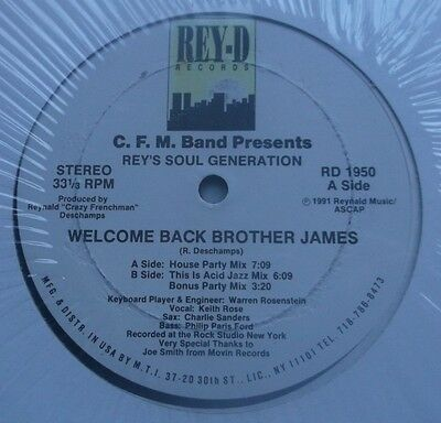 """C.f.m.band Presents Rey's Soul Generation-Welcome Back Brother James 12"""" Nm!"""