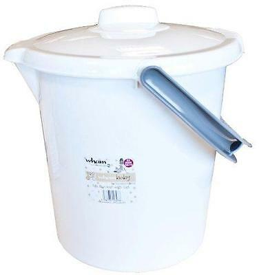 White 16L Baby Nappy Bucket Bin With Handle And Lid