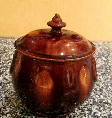 Vintage Collectable Tracle Glazed Pottery Tobacco Jar