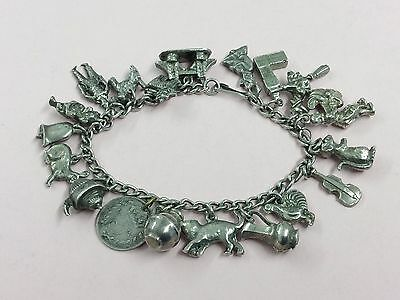 Vintage Sterling Silver Charm Bracelet With 19 Charms 1950