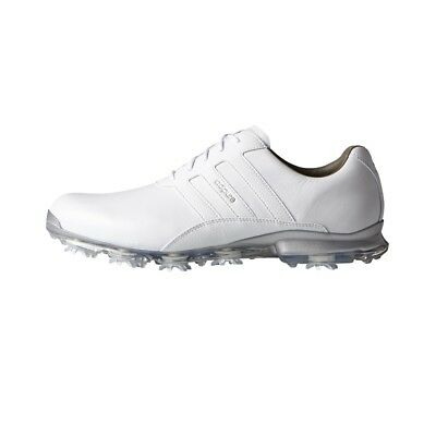 Adidas 2017 Adipure Classic Leather Golf Shoes (White/White/Silver)