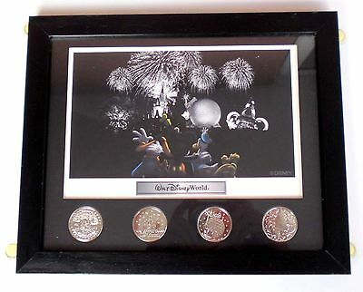 Retired Set of Four Framed Walt Disney World Coins and Lithograph
