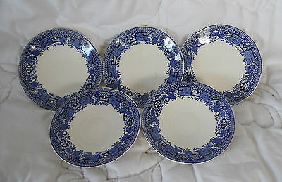 LOVELY Vintage Collectable SET Of 5 SWINNERTONS OLD WILLOW SAUCERS 11.5cm