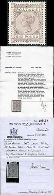 SG132 One Pound Brown-lilac wmk Anchor lettered DB on Blued Paper Fine Mint.