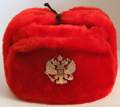 RUSSIAN AUTHENTIC USHANKA RED MILITARY HAT STYLE 1 S , M, L, XL,XXL sizes avai