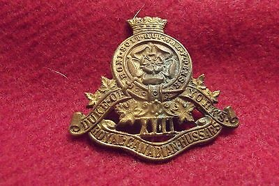 WW II Canadian Brass Cap Badge To The 17th Duke Of York's Royal Canadian Hussars