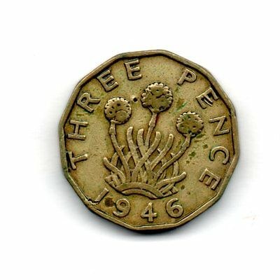Q74 British brass threepence coin relatively scarce 1946
