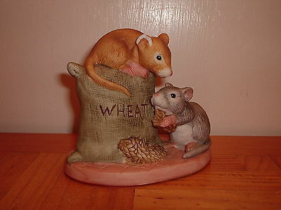 Two Mice Eating Wheat Ceramic China Ornament Figures
