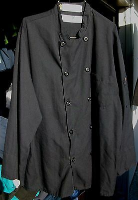 Chef Coat 2 Chef Designs Black Size Large Long Sleeve 100% Polyester