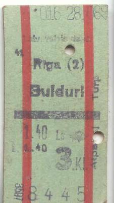 #075 LATVIA 1930s-1940 EDMONDSON RAILWAY TRAIN TICKET (EXACTLY AS ON IMAGE)