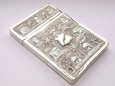 EXQUISITE RARE ANTIQUE ASIAN INDIAN 120gms SOLID SILVER REPOUSSE CARD CASE c1915