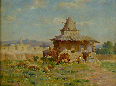 Signed 1855 French Orientalist Oil Painting - John Lewis Shonborn