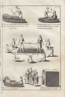 1735  Lahontan Engraving of Native Indian Marriage - Scarce English Edition