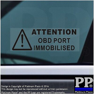 5x OBD Port Disabled Stickers-Security Window Warning Signs-Car,Van,Lorry,BLACK