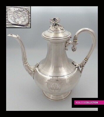 GORGEOUS ANTIQUE 1890s FRENCH FULL STERLING SILVER COFFEE POT Napoleon III Style