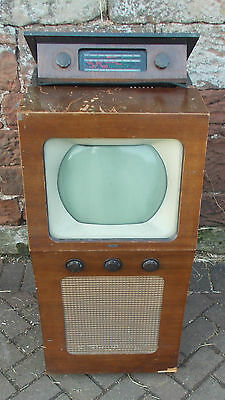 Early VINTAGE Cossor 924 TELEVISION & RADIO In WOODEN Case 1950s