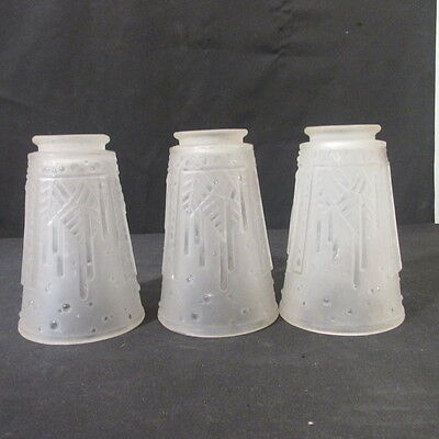 Set Of 3 SIGNED Mueller Freres FRENCH ART DECO  Frosted  ART Glass Lamp Shades