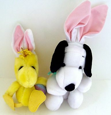 "Peanuts SNOOPY & WOODSTOCK PLUSH DOLLS in EASTER OUTFITS - 11"" & 9"" w/ EARS"