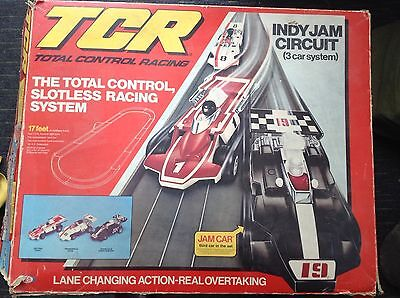 VINTAGE 1970's TCR INDY JAM CIRCUIT SLOTLESS RACE CAR SET - BOXED by IDEAL