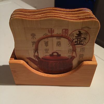6 Chinese Bamboo Coasters.New.