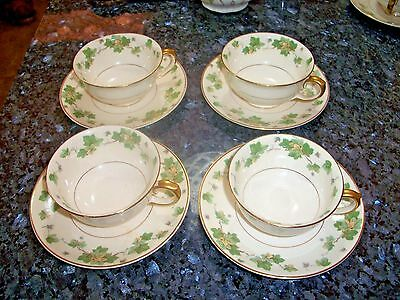 """Pope Gosser """"American Ivy"""" (4) Cups and (4) Saucers - NR"""