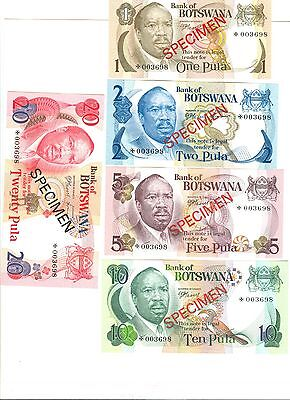 1979 Bank Of Botswana Specimen Notes: 1, 2, 5, 10, 20 Pula - Unc