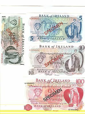 1978 Bank Of Ireland & Provincial Bank Of Ireland Specimen Notes:1,5,10,100-Unc