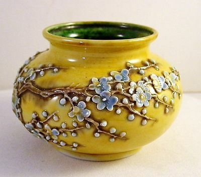 Miniature Chinese Jaune / Yellow Vase Applied Flower Blossoms & Butterfly - N/R