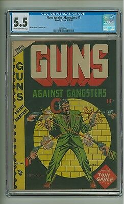 Guns Against Gangsters #1 (CGC 5.5) C-O/W pages; L.B. Cole cover; 1948 (c#12804)