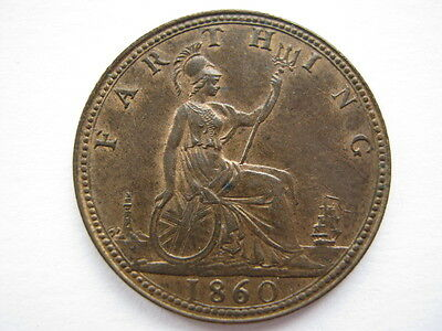 1860 Beaded Border Farthing EF