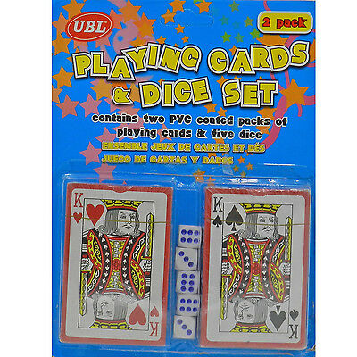 Playing Cards With 5 Dice Set Blackjack Poker Games Party Plastic Coated Board