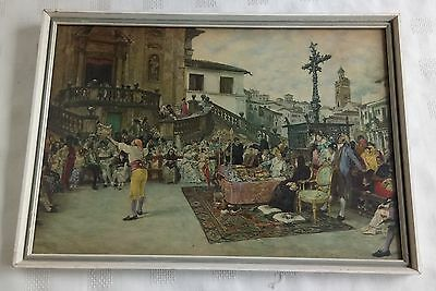 Vintage Framed And Glazed Print Of A Magician/jester Performing
