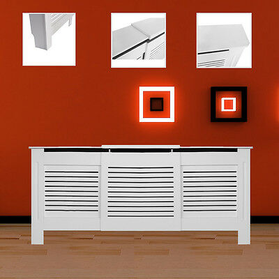 Adjustable White Lined Screen Furniture Painted Radiator Cover Shelf Cabinet MDF